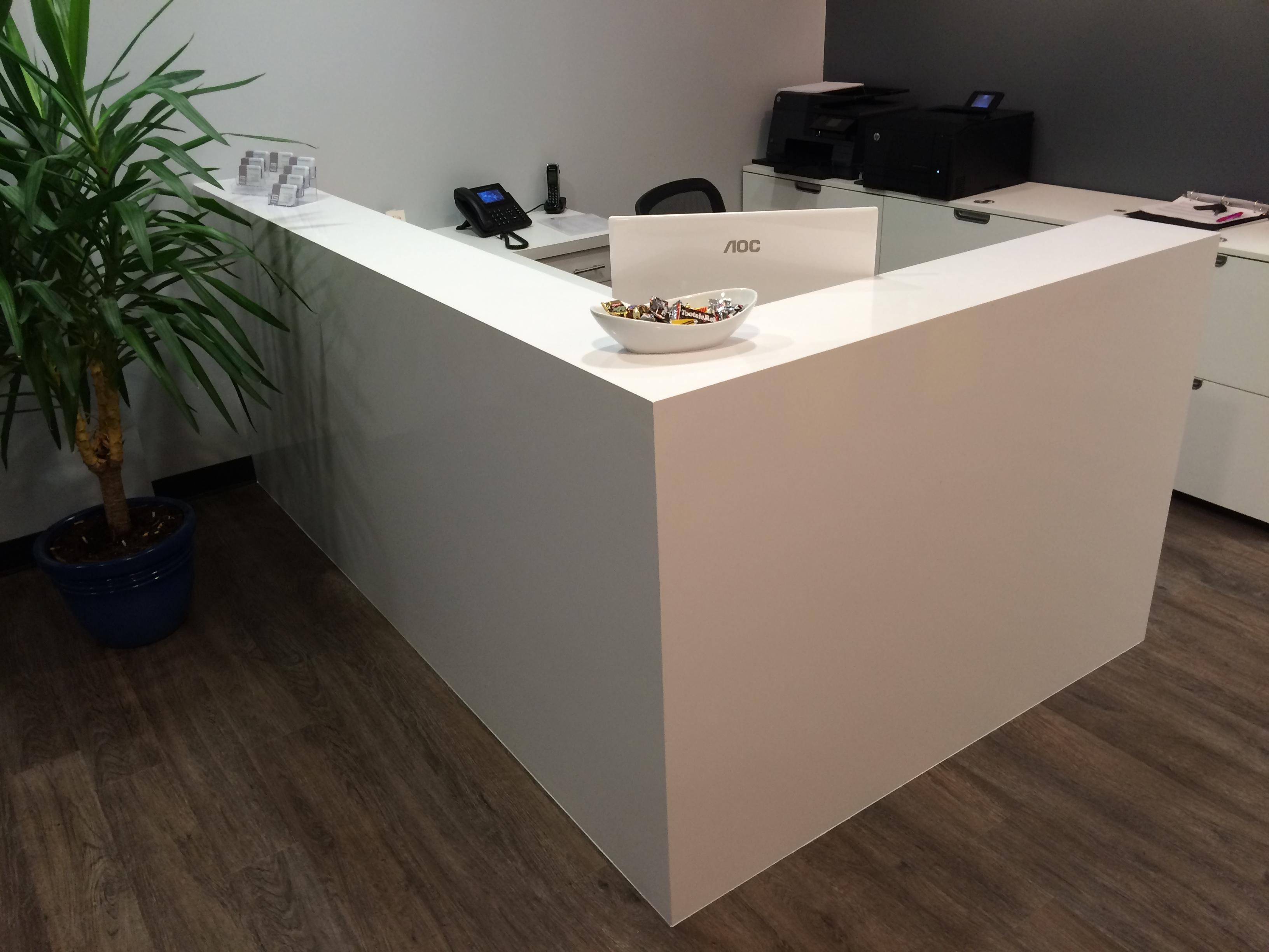 Quartz Stone Reception Desk : Quartz reception desk mekkelek custom woodwork cabinetry